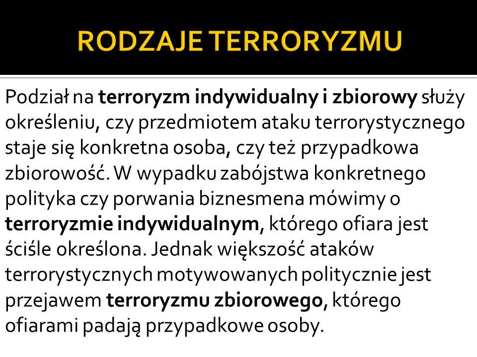 RODZAJE TERRORYZMU