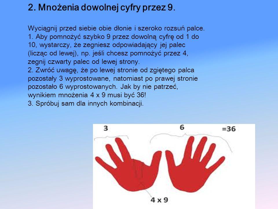 2. Mnożenia dowolnej cyfry przez 9.