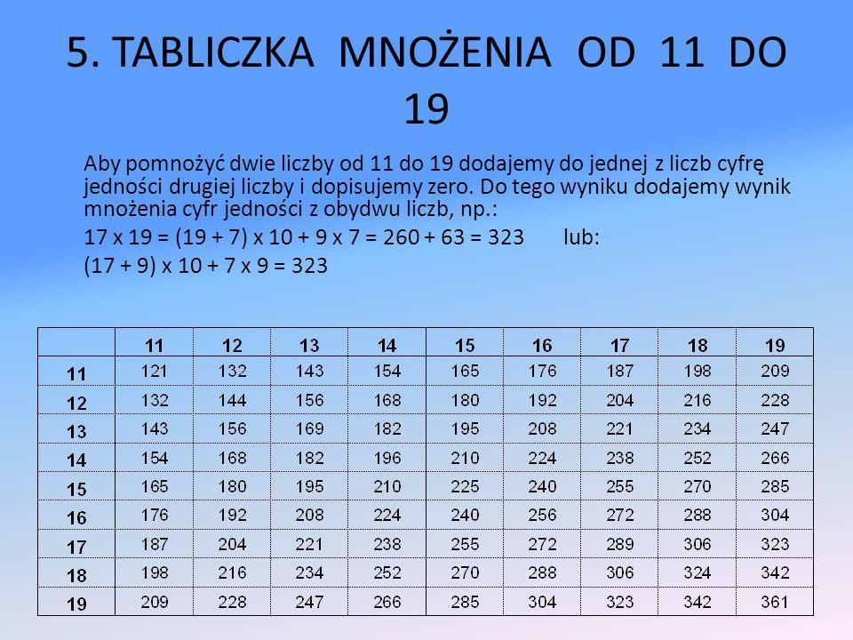 5. TABLICZKA MNOŻENIA OD 11 DO 19