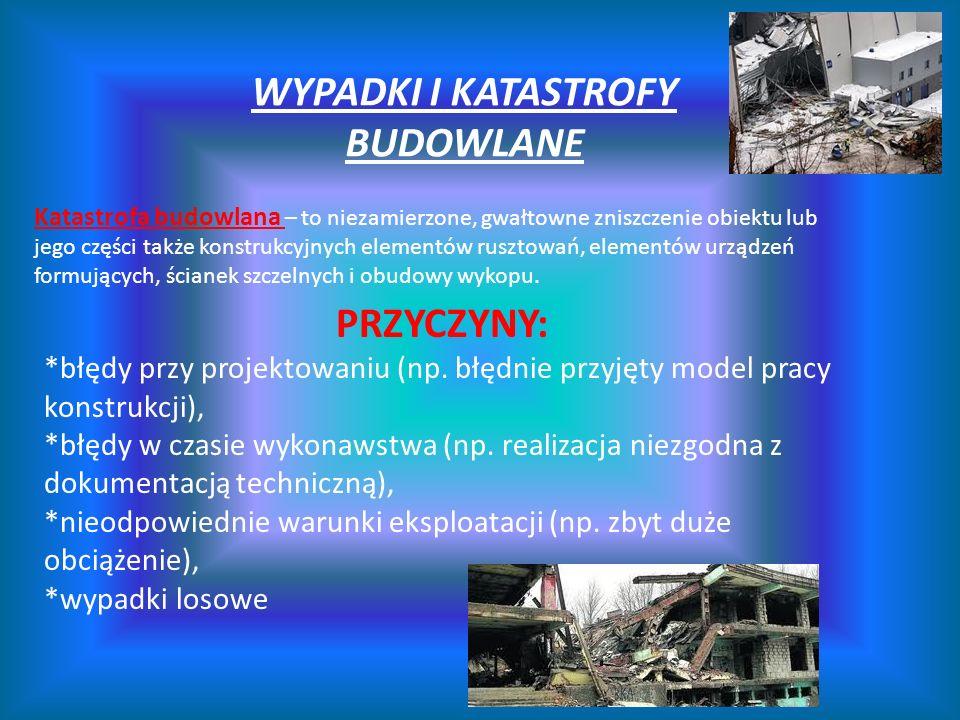 WYPADKI I KATASTROFY BUDOWLANE