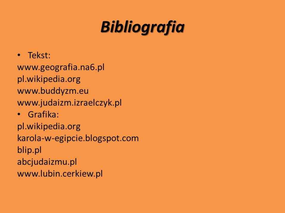 Bibliografia Tekst: www.geografia.na6.pl pl.wikipedia.org
