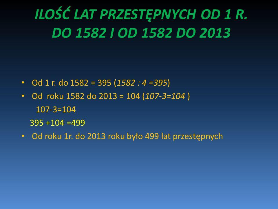 ILOŚĆ LAT PRZESTĘPNYCH OD 1 R. DO 1582 I OD 1582 DO 2013