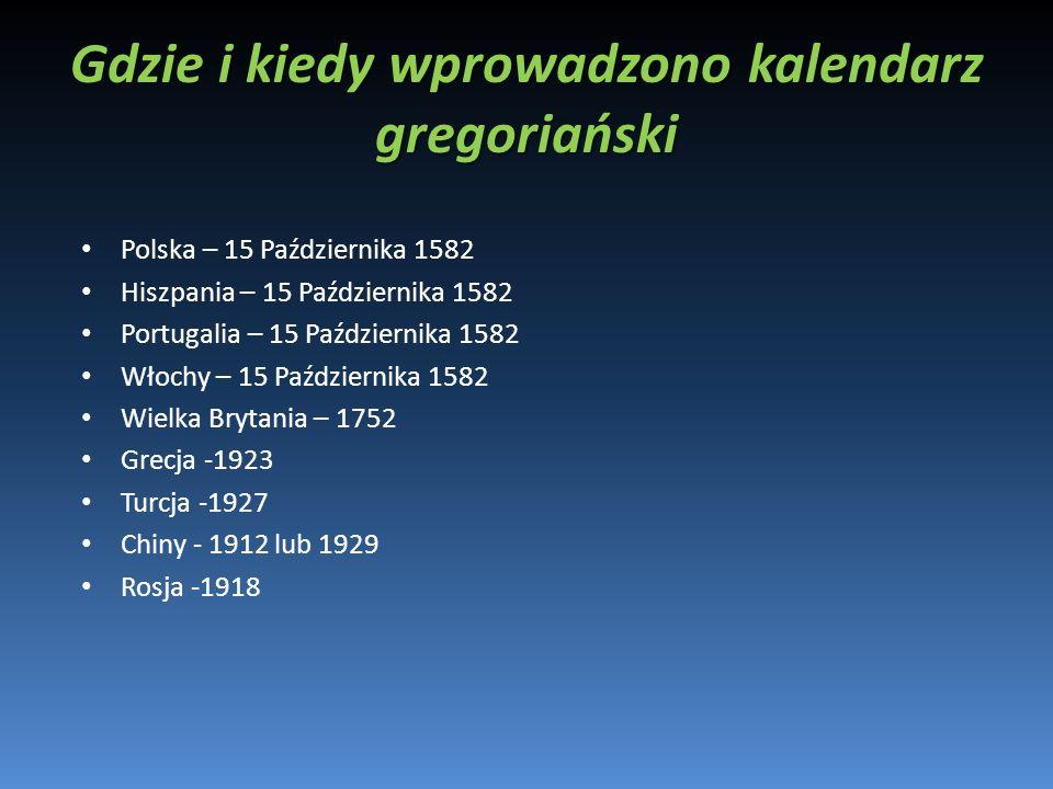 Gdzie i kiedy wprowadzono kalendarz gregoriański