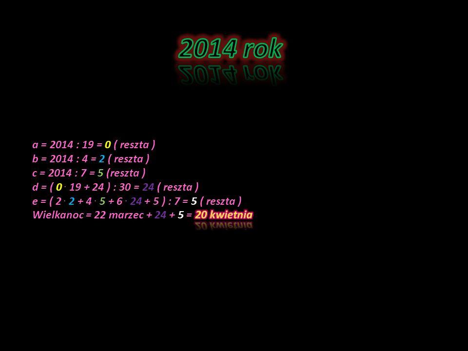 2014 rok a = 2014 : 19 = 0 ( reszta ) b = 2014 : 4 = 2 ( reszta )