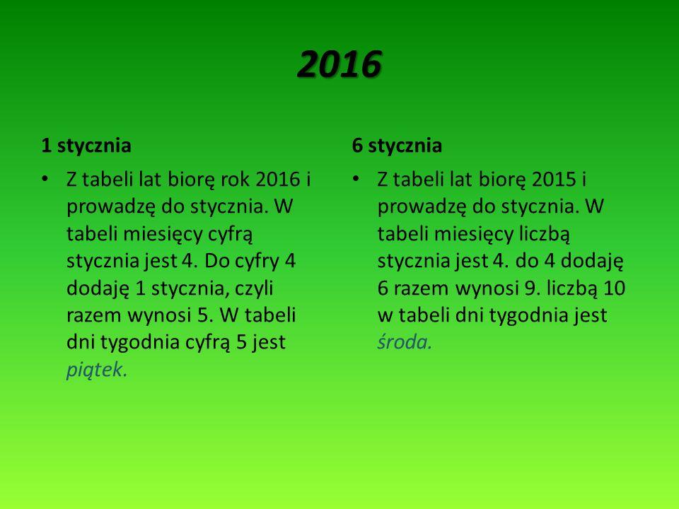 2016 1 stycznia. 6 stycznia.