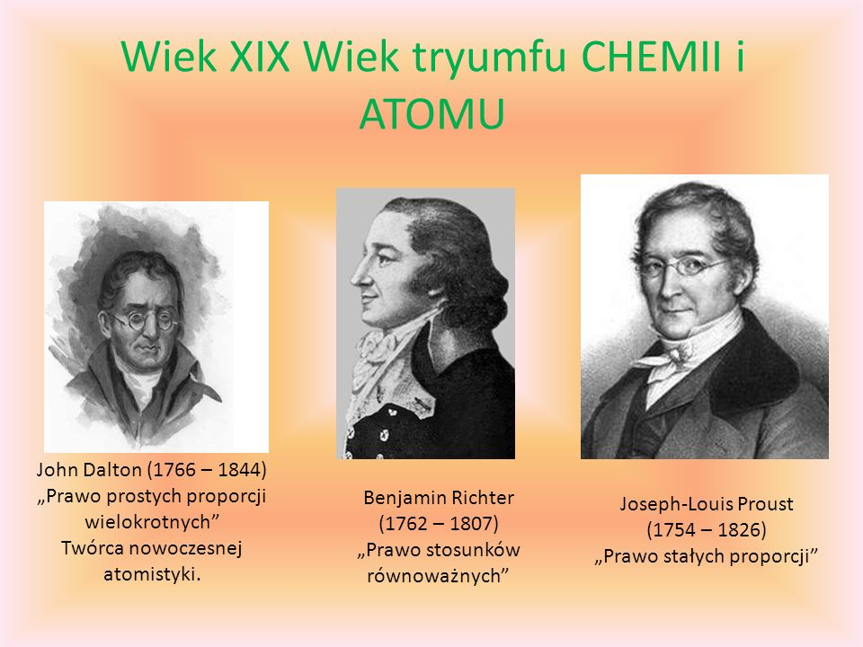 Wiek XIX Wiek tryumfu CHEMII i ATOMU