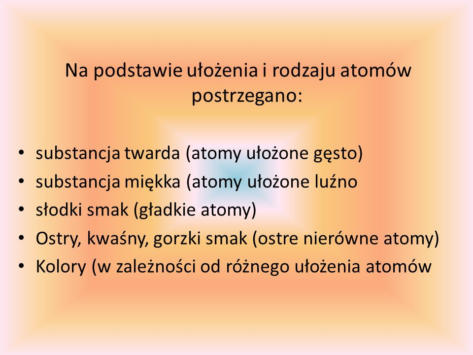 Na podstawie ułożenia i rodzaju atomów postrzegano: