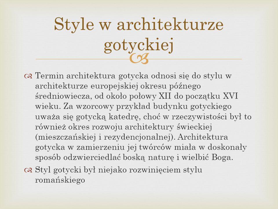 Style w architekturze gotyckiej