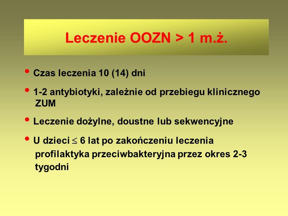 • 1-2 antybiotyki, zależnie od przebiegu klinicznego ZUM