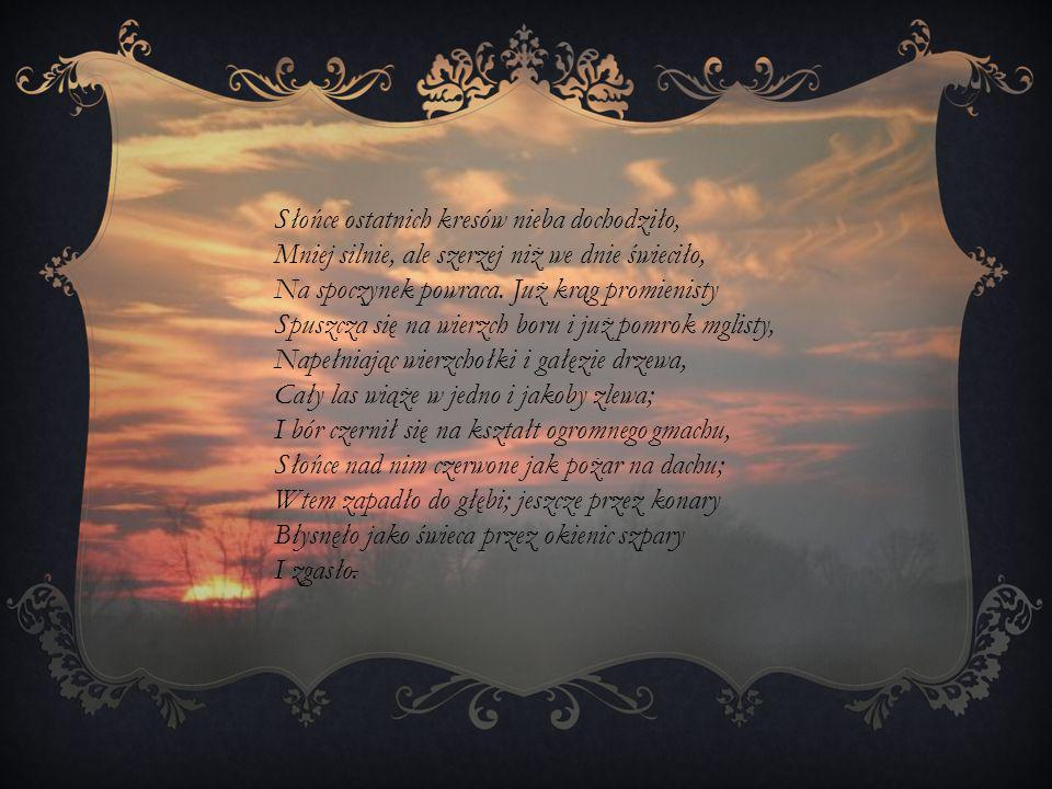Słońce ostatnich kresów nieba dochodziło,
