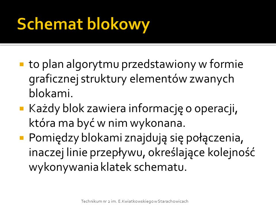 Schemat blokowy to plan algorytmu przedstawiony w formie graficznej struktury elementów zwanych blokami.