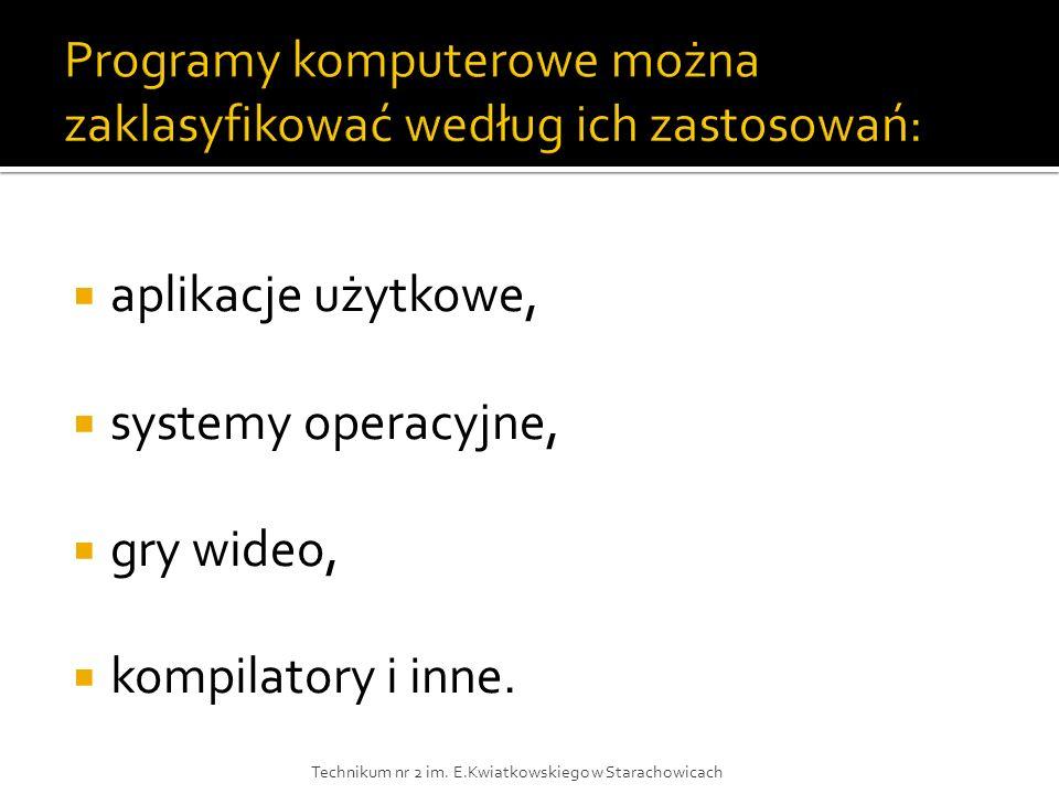 Programy komputerowe można zaklasyfikować według ich zastosowań: