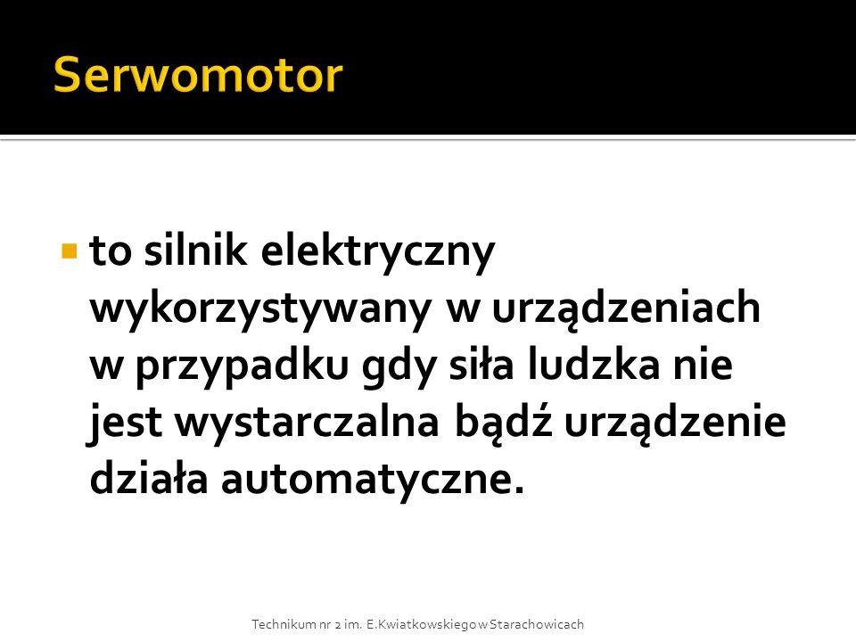 Serwomotor to silnik elektryczny wykorzystywany w urządzeniach w przypadku gdy siła ludzka nie jest wystarczalna bądź urządzenie działa automatyczne.