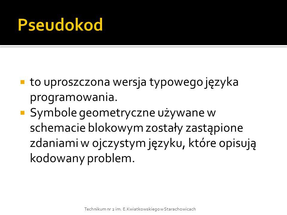 Pseudokod to uproszczona wersja typowego języka programowania.