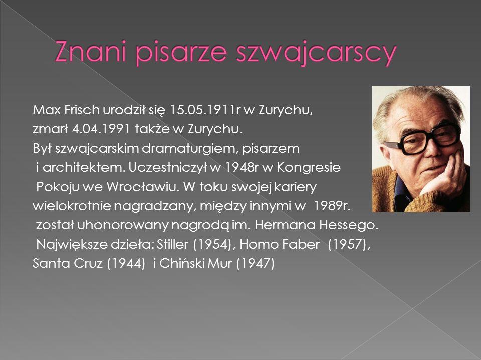 Znani pisarze szwajcarscy