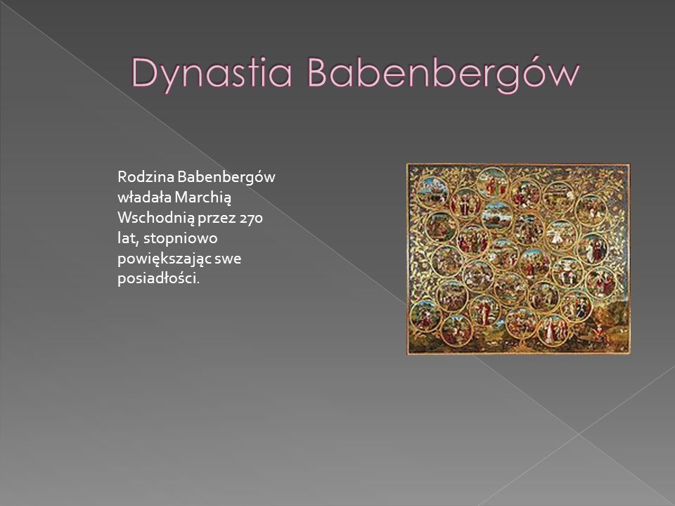 Dynastia Babenbergów Rodzina Babenbergów władała Marchią Wschodnią przez 270 lat, stopniowo powiększając swe posiadłości.
