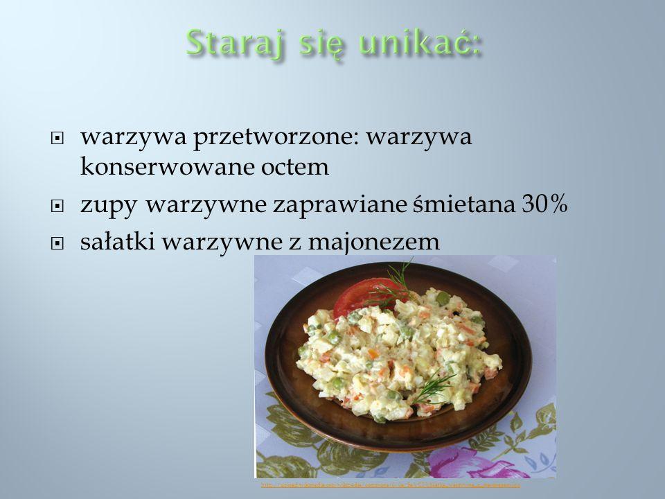 Staraj się unikać: warzywa przetworzone: warzywa konserwowane octem