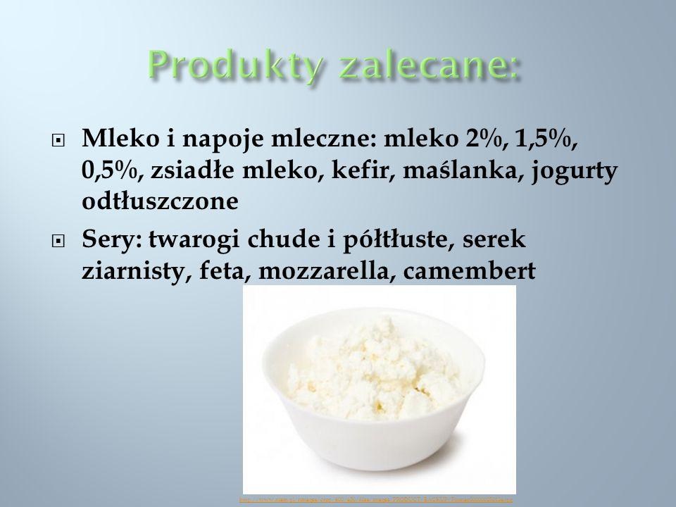 Produkty zalecane: Mleko i napoje mleczne: mleko 2%, 1,5%, 0,5%, zsiadłe mleko, kefir, maślanka, jogurty odtłuszczone.