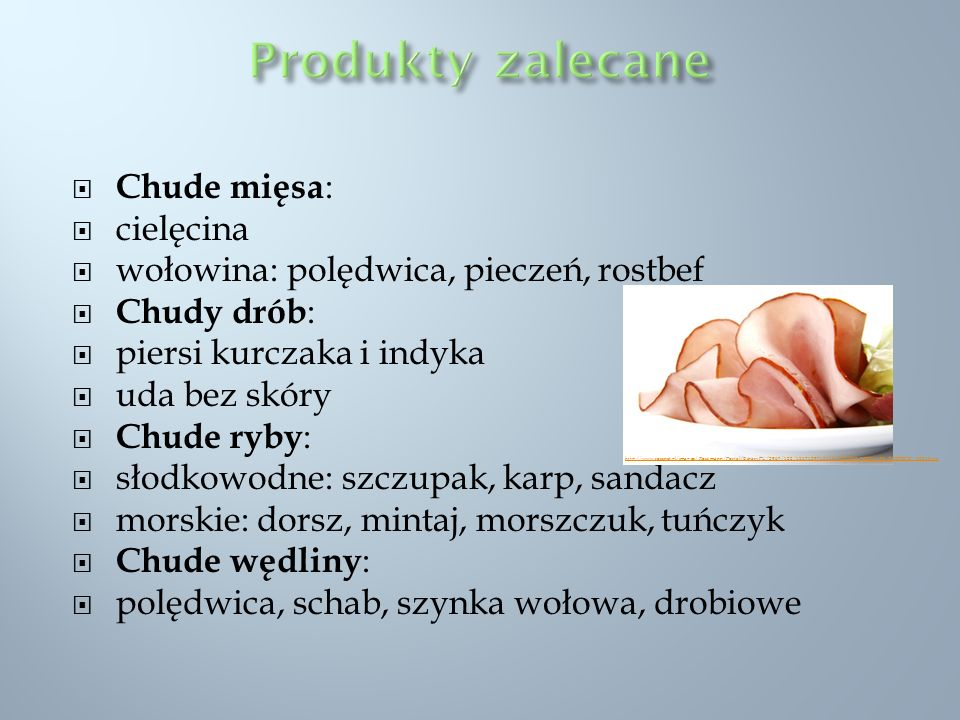 Produkty zalecane Chude mięsa: cielęcina