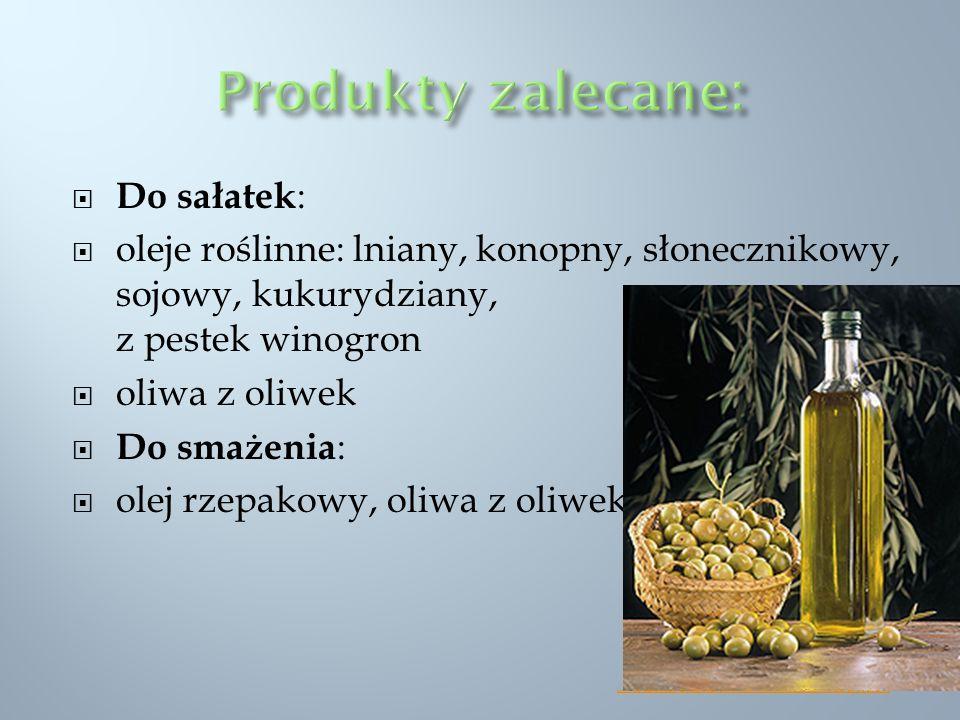 Produkty zalecane: Do sałatek:
