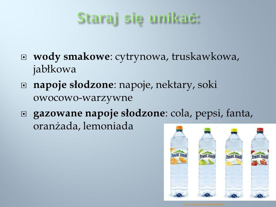 Staraj się unikać: wody smakowe: cytrynowa, truskawkowa, jabłkowa