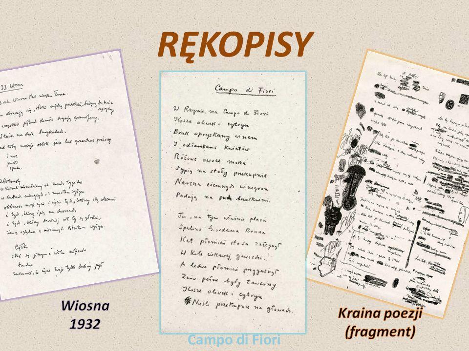 RĘKOPISY Wiosna 1932 Kraina poezji (fragment) Campo di Fiori