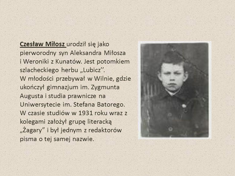 Czesław Miłosz urodził się jako pierworodny syn Aleksandra Miłosza