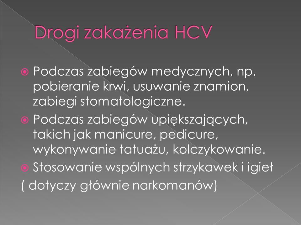 Drogi zakażenia HCV Podczas zabiegów medycznych, np. pobieranie krwi, usuwanie znamion, zabiegi stomatologiczne.