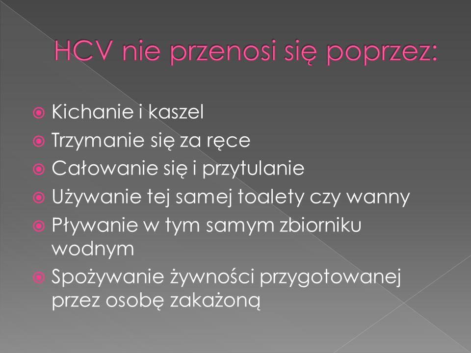 HCV nie przenosi się poprzez:
