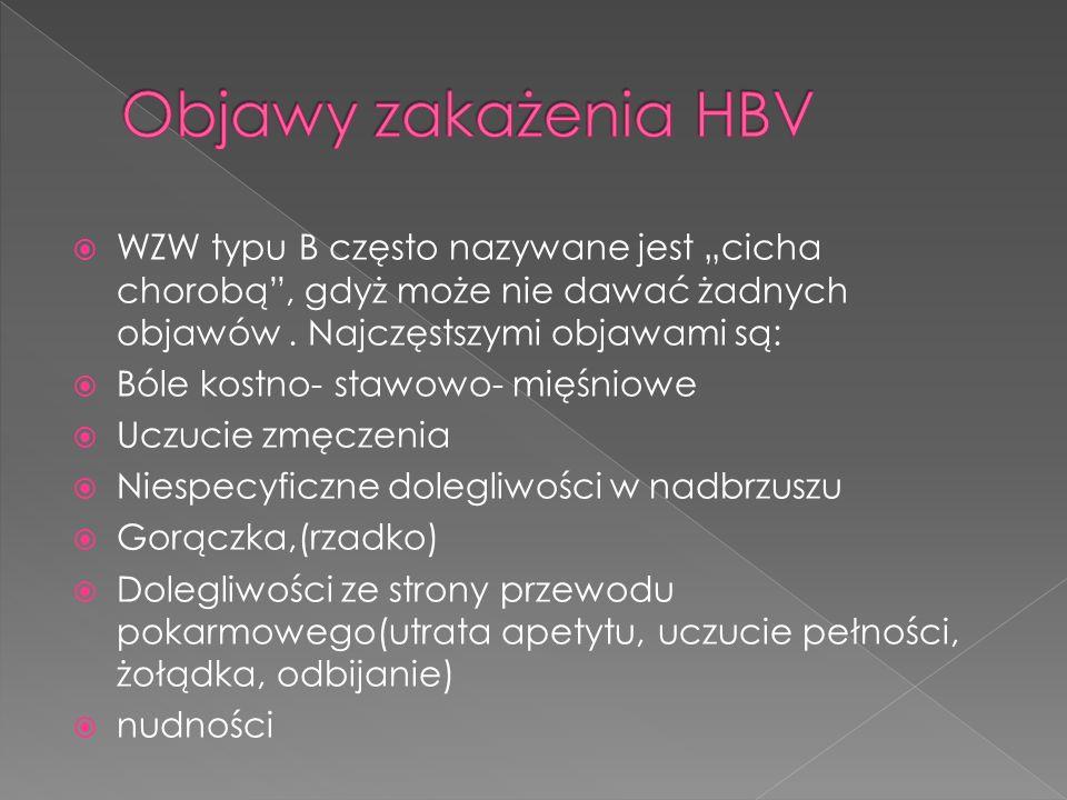 """Objawy zakażenia HBV WZW typu B często nazywane jest """"cicha chorobą , gdyż może nie dawać żadnych objawów . Najczęstszymi objawami są:"""