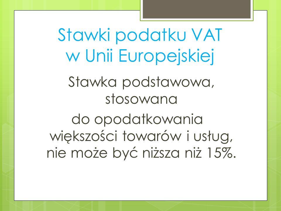 Stawki podatku VAT w Unii Europejskiej