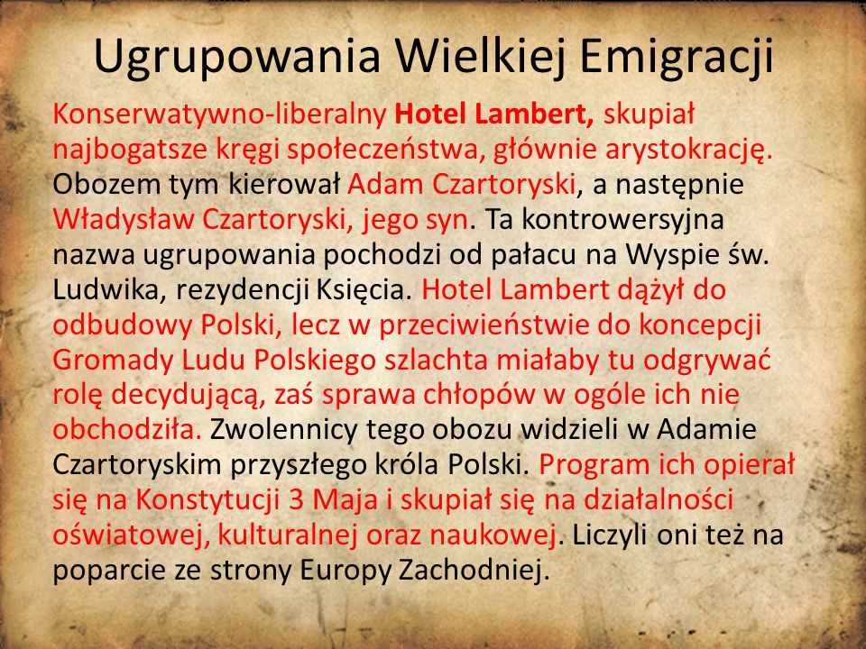 Ugrupowania Wielkiej Emigracji