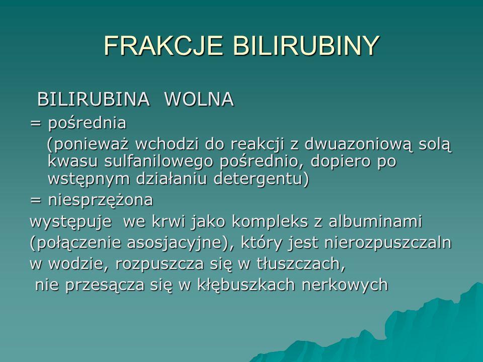 FRAKCJE BILIRUBINY BILIRUBINA WOLNA = pośrednia