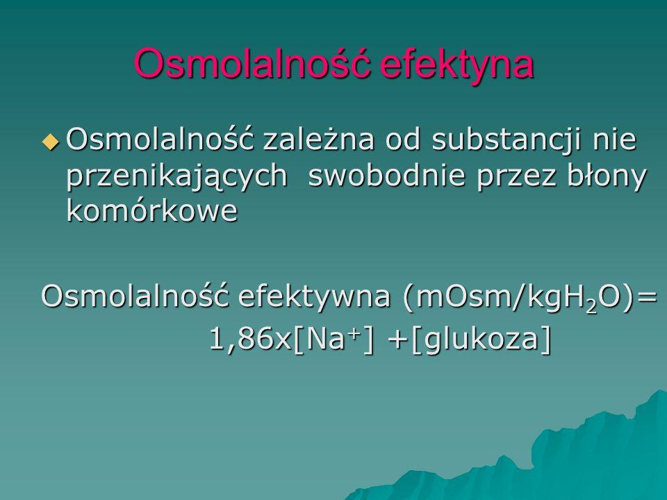 Osmolalność efektyna Osmolalność zależna od substancji nie przenikających swobodnie przez błony komórkowe.