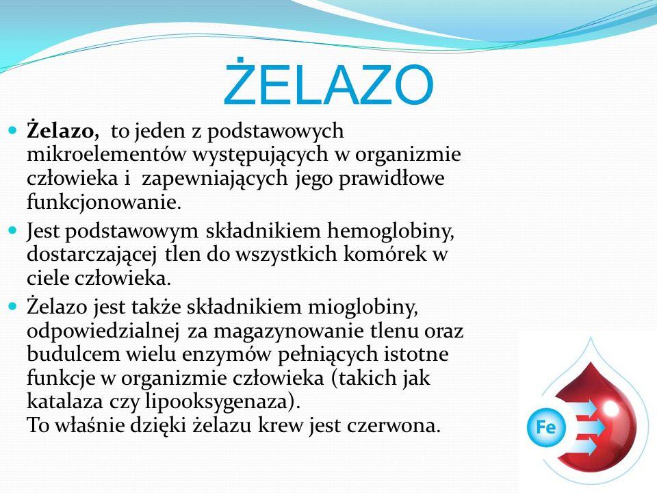 ŻELAZO Żelazo, to jeden z podstawowych mikroelementów występujących w organizmie człowieka i zapewniających jego prawidłowe funkcjonowanie.