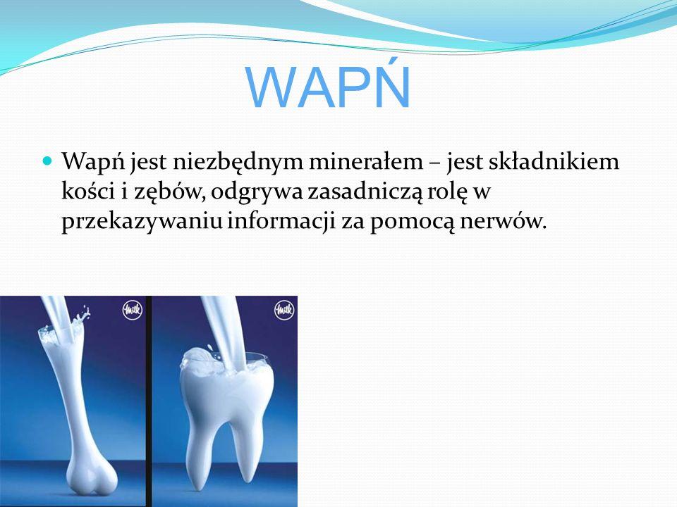 WAPŃ Wapń jest niezbędnym minerałem – jest składnikiem kości i zębów, odgrywa zasadniczą rolę w przekazywaniu informacji za pomocą nerwów.