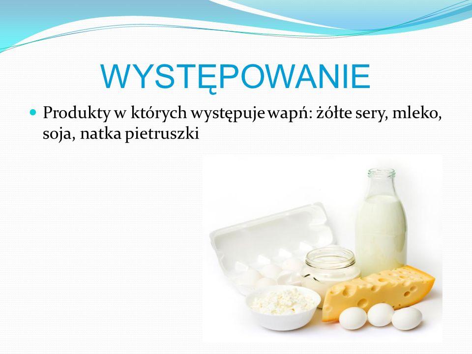 WYSTĘPOWANIE Produkty w których występuje wapń: żółte sery, mleko, soja, natka pietruszki