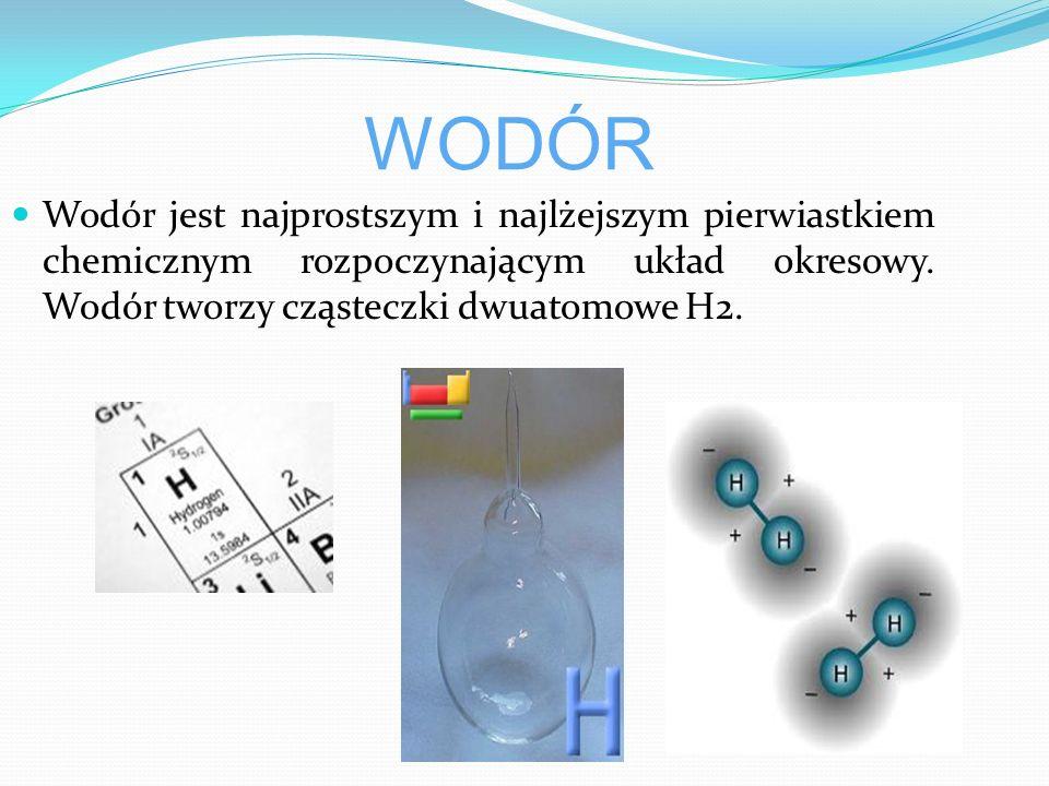WODÓR Wodór jest najprostszym i najlżejszym pierwiastkiem chemicznym rozpoczynającym układ okresowy.