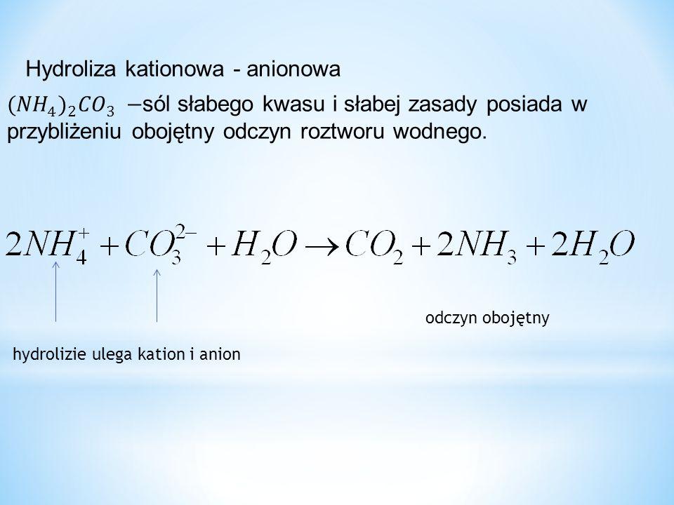 Hydroliza kationowa - anionowa