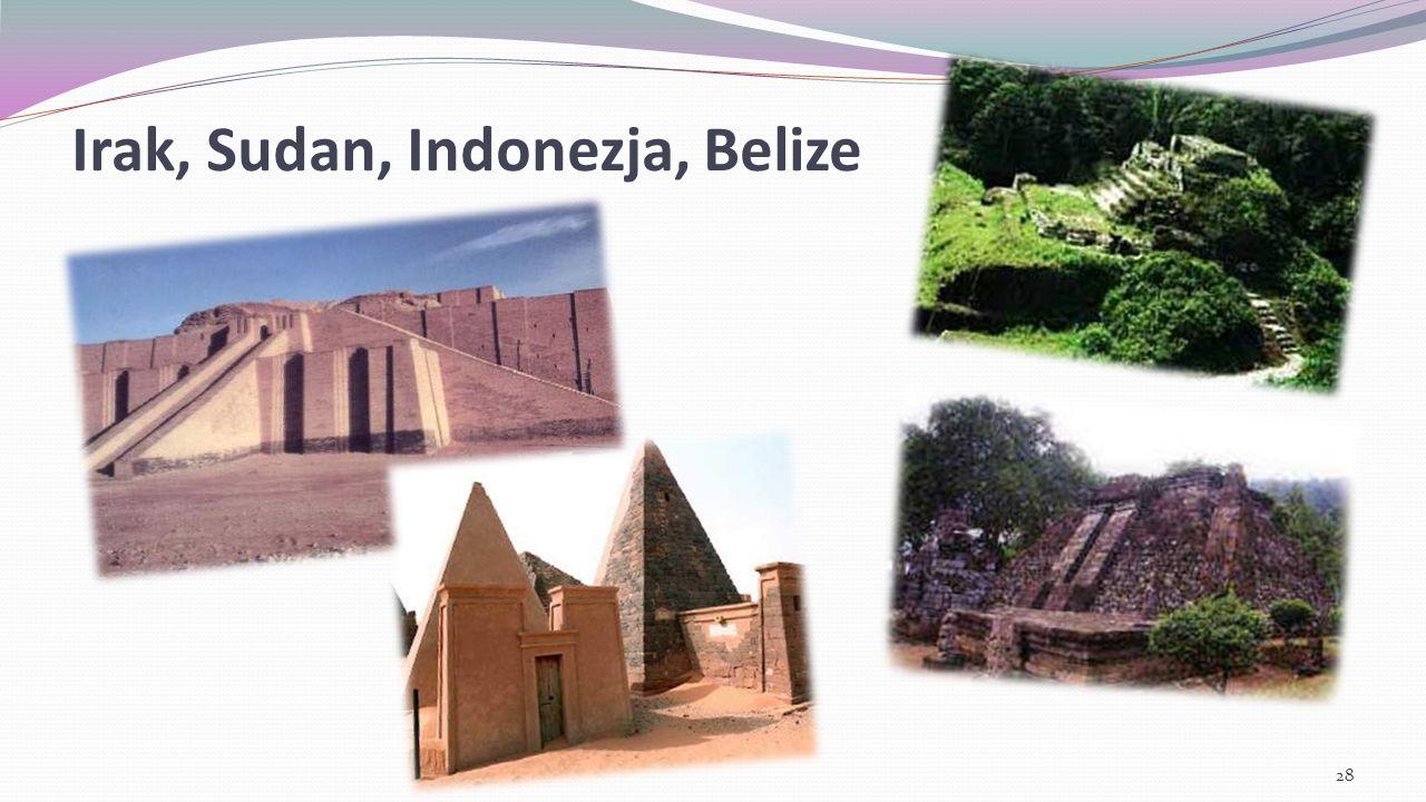 Irak, Sudan, Indonezja, Belize