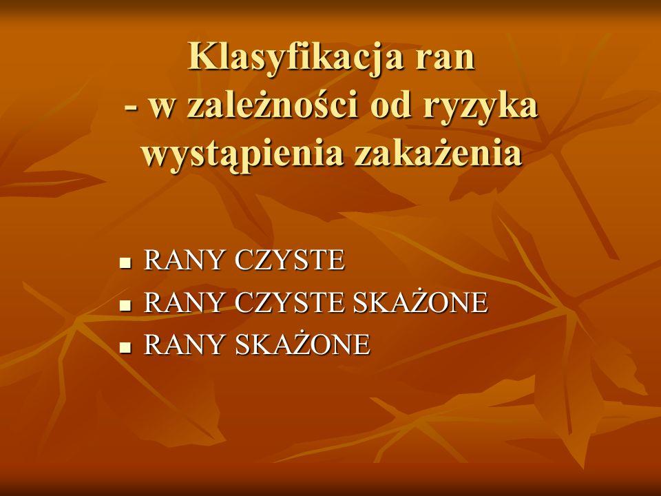 Klasyfikacja ran - w zależności od ryzyka wystąpienia zakażenia