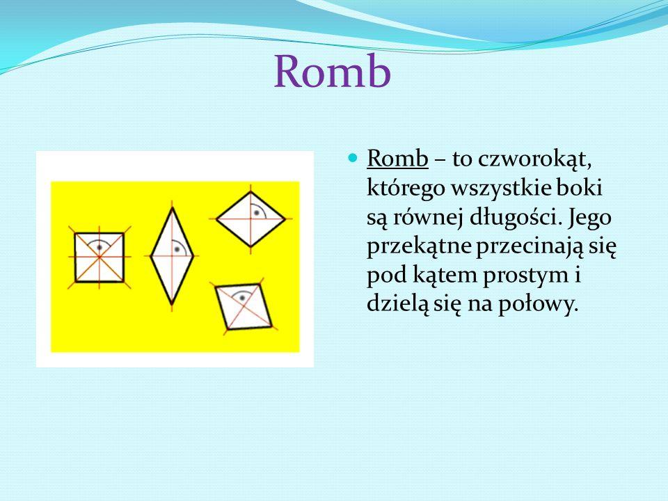 Romb Romb – to czworokąt, którego wszystkie boki są równej długości.