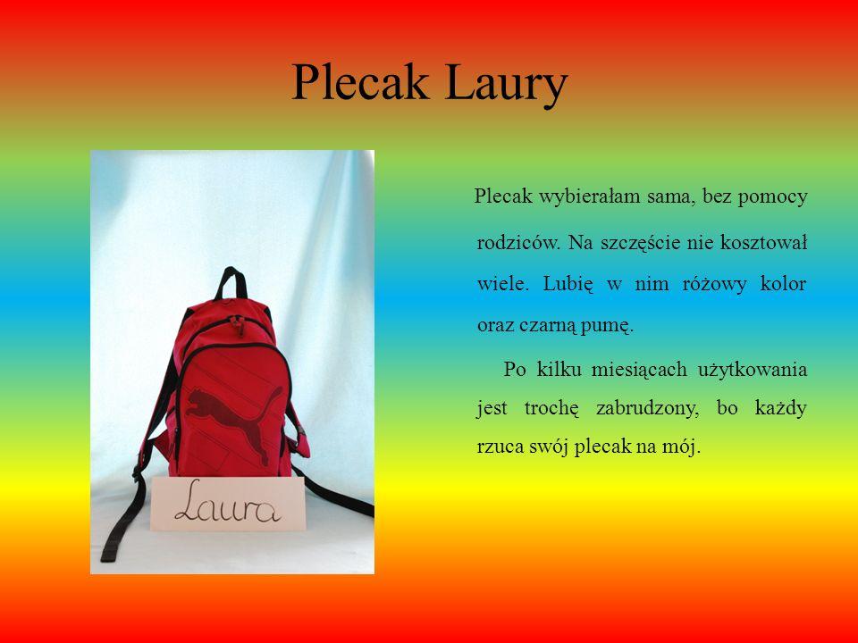 Plecak LauryPlecak wybierałam sama, bez pomocy rodziców. Na szczęście nie kosztował wiele. Lubię w nim różowy kolor oraz czarną pumę.