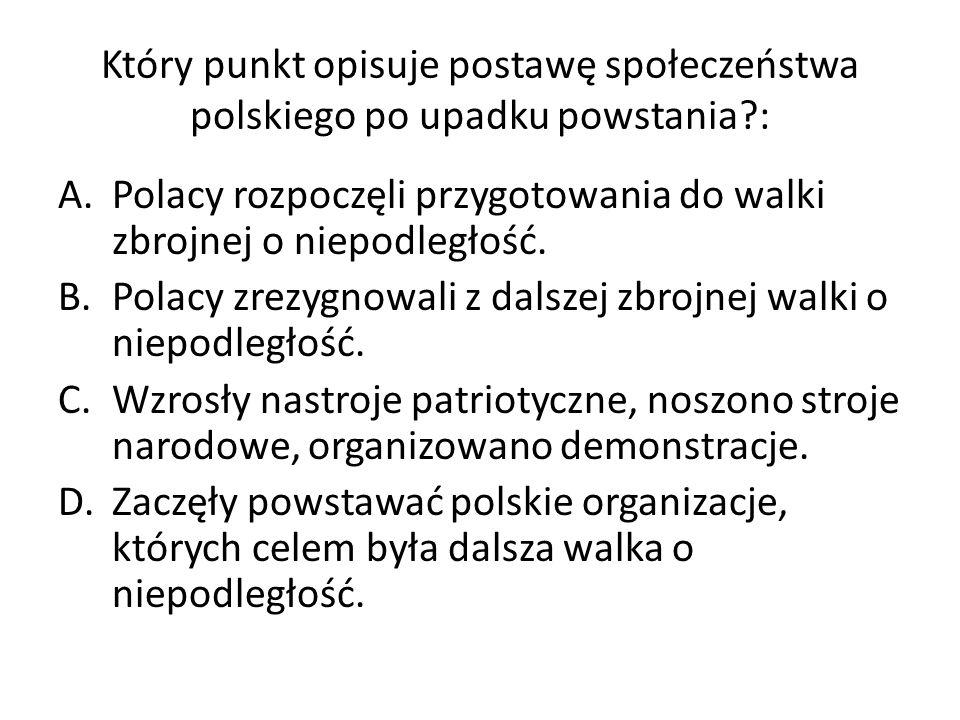 Który punkt opisuje postawę społeczeństwa polskiego po upadku powstania :