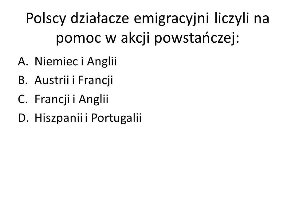 Polscy działacze emigracyjni liczyli na pomoc w akcji powstańczej: