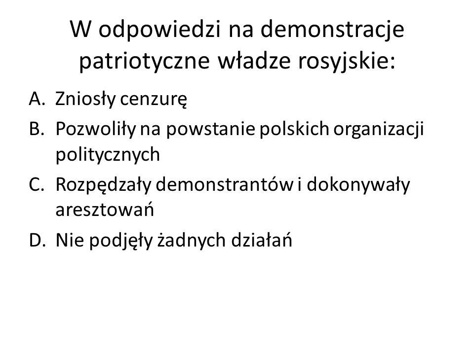 W odpowiedzi na demonstracje patriotyczne władze rosyjskie: