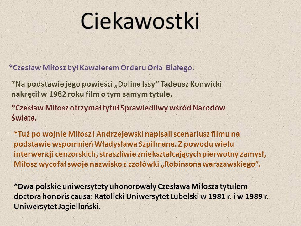 Ciekawostki *Czesław Miłosz był Kawalerem Orderu Orła Białego.