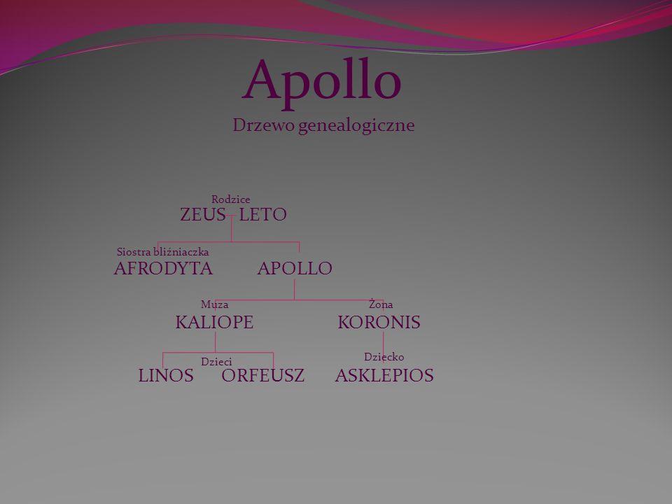 Apollo Drzewo genealogiczne ZEUS LETO AFRODYTA APOLLO KALIOPE KORONIS