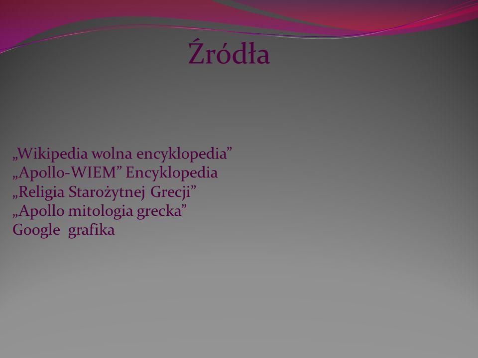 """Źródła """"Wikipedia wolna encyklopedia """"Apollo-WIEM Encyklopedia"""