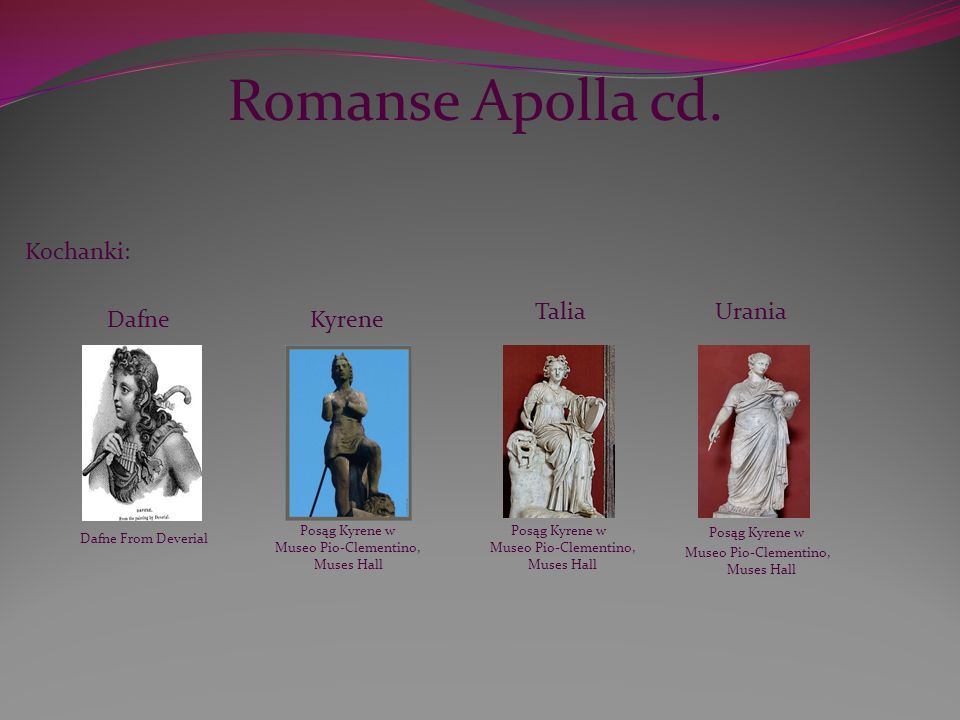 Romanse Apolla cd. Kochanki: Talia Urania Dafne Kyrene Posąg Kyrene w
